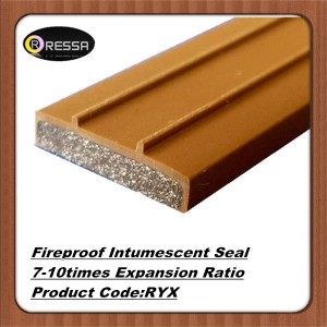 Brown PVC cover Flat flexible fireproof intumescent seal strip